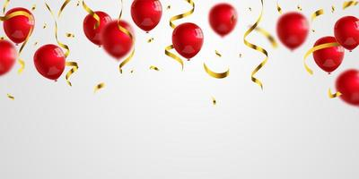 balões vermelhos confete ouro glitter para cartaz de eventos e férias. ilustração em vetor fundo celebração.