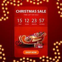 liquidação de natal, banner vertical vermelho com cronômetro de contagem regressiva, textura poligonal e trenó de Papai Noel com presentes