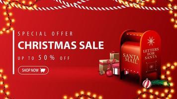 oferta especial, liquidação de natal, desconto de até 50, banner vermelho moderno com desconto em estilo minimalista com guirlandas de natal e caixa de correio do papai noel com presentes