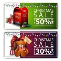 dois descontos de banners de Natal com caixa de correio de Papai Noel e presentes com ursinho de pelúcia. banners de desconto verdes e roxos