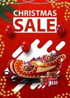 liquidação de natal, banner vermelho vertical de desconto com guirlandas, balões vermelhos, formas abstratas e trenó de Papai Noel com presentes