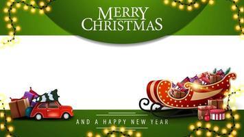 Feliz Natal e Feliz Ano Novo, modelo verde e branco para suas artes com guirlanda, carro vermelho de brinquedo vintage carregando árvore de Natal e trenó do Papai Noel com presentes