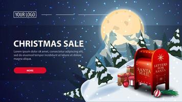 venda de Natal, banner de web de desconto horizontal com noite estrelada. lua cheia azul com céu estrelado e a silhueta do planeta