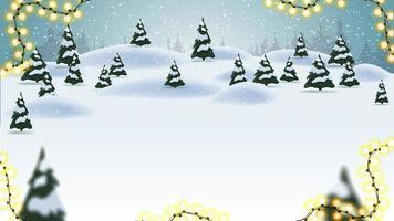 fundo de Natal, paisagem de desenho animado, floresta com nevascas e pequenos pinheiros.