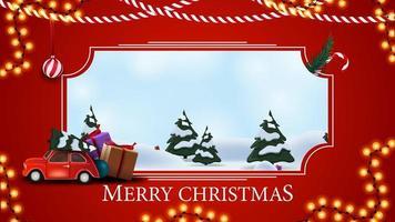 Feliz Natal, cartão postal vermelho com paisagem de desenho animado de inverno, guirlanda e carro vintage vermelho carregando árvore de Natal