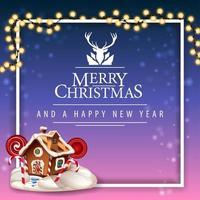Feliz Natal e Feliz Ano Novo, postal com lindo logotipo de saudação com veado, moldura volumétrica branca com guirlanda e casa de pão de mel de Natal
