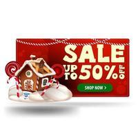 banner 3d de desconto vermelho de natal com até 50 de desconto e casa de bolo de Natal