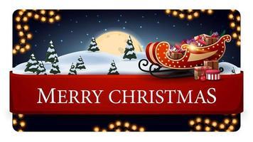 Feliz Natal, cartão postal azul com bela paisagem de inverno, grande lua cheia, guirlanda, fita horizontal vermelha com oferta e trenó de Papai Noel com presentes