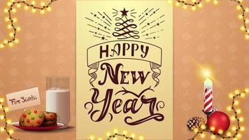 feliz ano novo, cartão postal bege com lindas letras, grinalda, fita vertical e biscoitos com um copo de leite para o papai noel