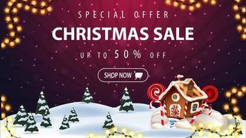oferta especial, liquidação de natal, até 50 de desconto, lindo banner roxo de desconto com desenho de paisagem de inverno no fundo e casa de pão de mel de natal