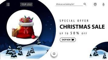 oferta especial, liquidação de natal, até 50 de desconto, lindo banner de desconto em vermelho e azul com paisagem de inverno e bolsa de papai noel com presentes