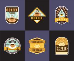 Vector de logotipos de crachá de café