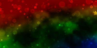 layout de vetor multicolorido escuro com círculos, estrelas.