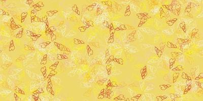 fundo abstrato luz vermelha, amarela do vetor com folhas.