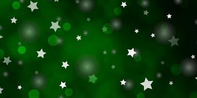 fundo verde claro do vetor com círculos, estrelas.