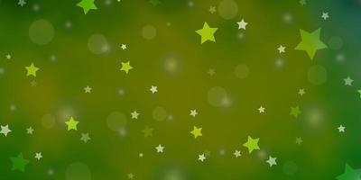 textura de vetor verde claro com círculos, estrelas.