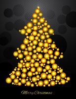Árvore de Natal com pequenas bolas de ouro vetor