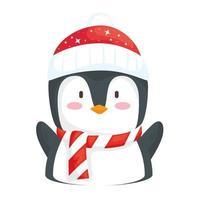 feliz Natal feliz pinguim usando chapéu de Papai Noel vetor