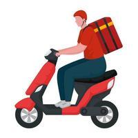 entregador em personagem de motocicleta vetor