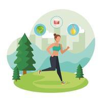 mulher atlética correndo na paisagem com ícones saudáveis vetor