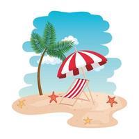 cena da praia na praia com cadeira e guarda-chuva vetor
