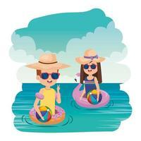 casal de crianças pequenas com carros alegóricos e balões no mar vetor