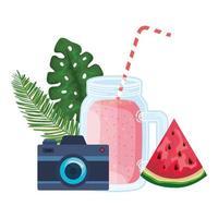 jarra de suco de melancia com câmera vetor