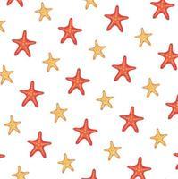 fundo padrão de animais estrela do mar de verão vetor