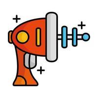 linha de arma alienígena e ícone de estilo de preenchimento vetor