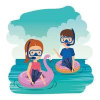 crianças pequenas casal com flutuadores e snorkels no mar vetor