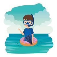 garotinho fofo com boia de donut e mergulho com snorkel no mar vetor