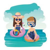 casal de crianças com snorkel e balão no mar vetor