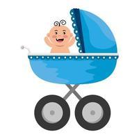 carrinho de bebê com personagem de menino vetor