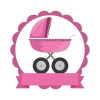 moldura de renda com carrinho de bebê vetor