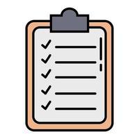 linha da área de transferência da lista de verificação e ícone de estilo de preenchimento vetor