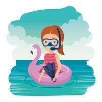 menina com flutuador flamengo e mergulho com snorkel no mar vetor