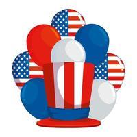 cartola e balões de hélio com bandeira dos estados unidos da américa vetor