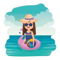 menina com flutuador flamengo e balão de praia no mar vetor