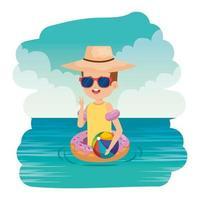 garotinho fofo com boia de donut e balão de praia no mar vetor