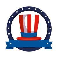 cartola com bandeira e fita dos estados unidos da américa vetor