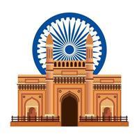Ashoka Chakra com Palácio do Portão Indiano vetor