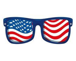 óculos de sol com bandeira dos estados unidos da américa vetor