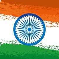 Ashoka chakra indiano com bandeira pintada vetor