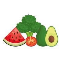vegetais frescos e frutas alimentos saudáveis vetor