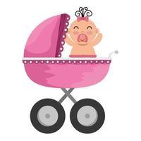 carrinho de bebê com personagem de menina vetor
