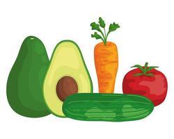 ícones de alimentos saudáveis de vegetais frescos vetor