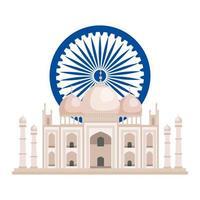 Ashoka chakra com etiqueta mesquita indiana vetor