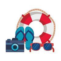 chinelos de verão com câmera e flutuador vetor