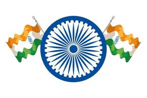 Ashoka chakra indiano com bandeiras vetor