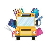 transporte de ônibus escolar com ícones de educação vetor